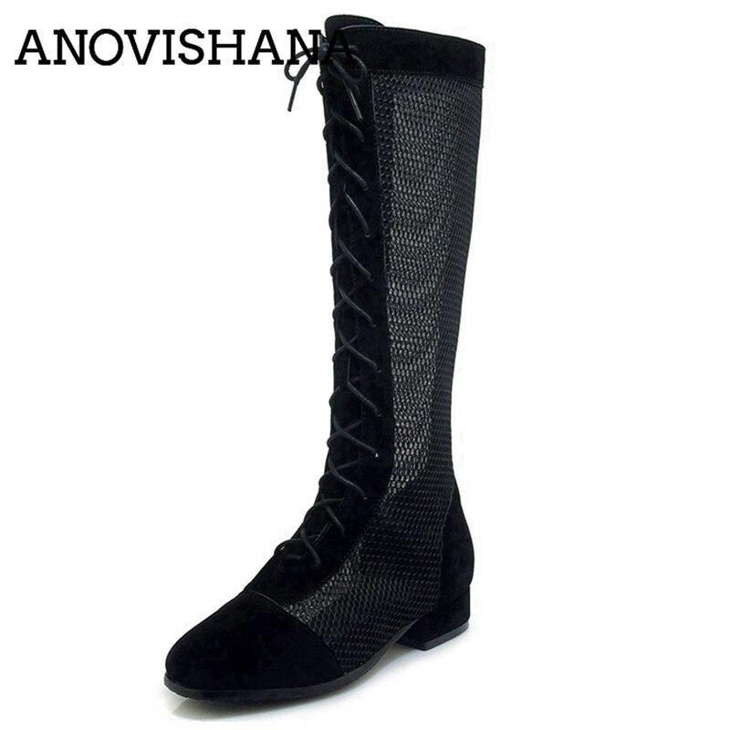 Al Calzature Sexy Anovishana Black Primavera Stivali Piatto Lace rvrgPOWR