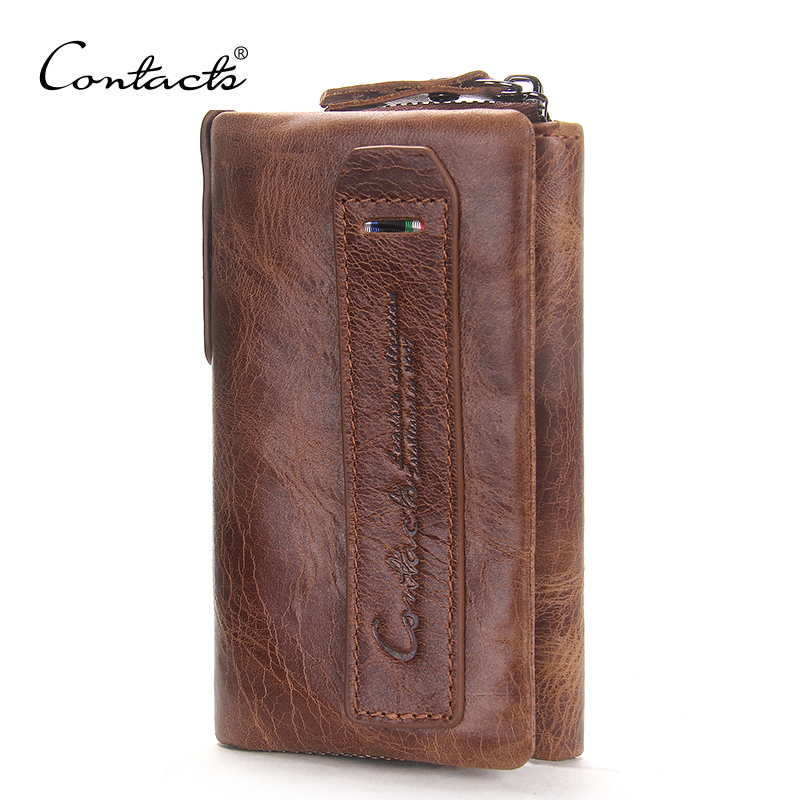 CONTACTS 2018 Vintage Crazy Horse Leather Men Wallets Hasp Design Cowhide Key Purse Genuine Leather Coin Pocket For Man Wallet