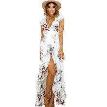 2019 Summer Women Boho V Neck Short Sleeve Print Dress High Waist Split Maxi Dresses Chiffon Sash Wrap Beach Dress tropical print split sleeve elasticized waist dress