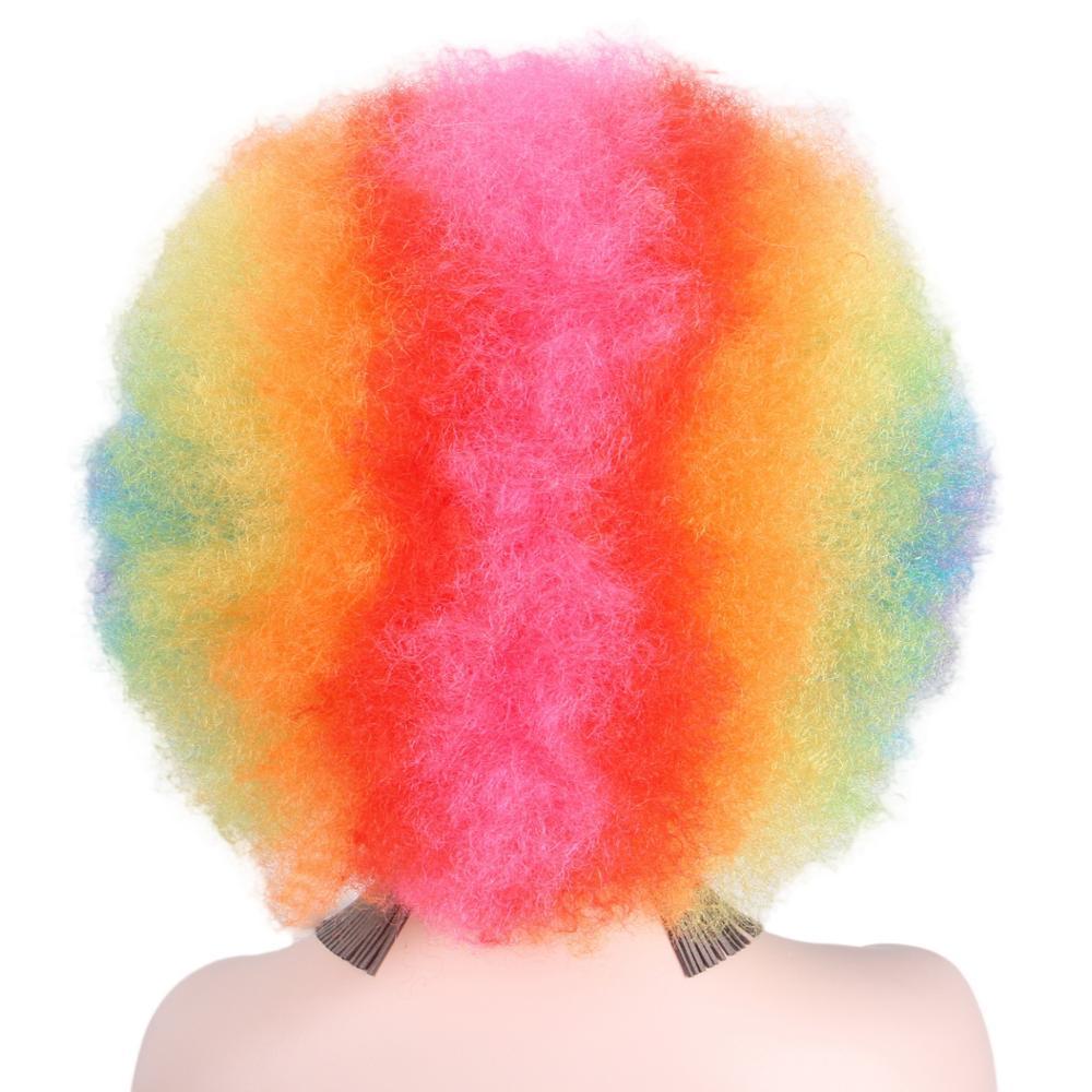 Afro Clown Wig Regnbåge Coloful Big Top Curly Party Paryk För - Syntetiskt hår - Foto 3