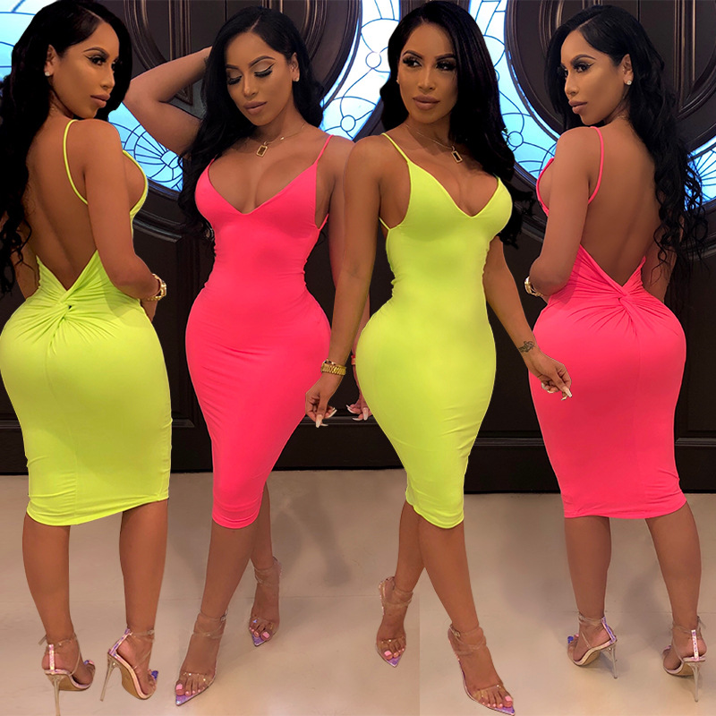 Strap Sexy Basic Neon <font><b>Dress</b></font> for Women Casual Solid Sleeveless Bodycon <font><b>Dress</b></font> Summer 2019 Party <font><b>Pink</b></font> <font><b>Dresses</b></font> Streetwear image