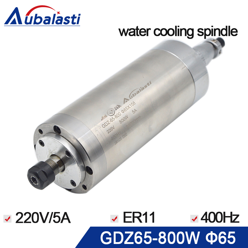 800w CNC Router Spindle Motor 220V 5A Water cooling spindle ER11 24000rpm Diameter 65MM length 158mm for cnc router machine water cooling spindle sets 1pcs 0 8kw er11 220v spindle motor and matching 800w inverter inverter and 65mmmount bracket clamp