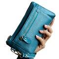Mulheres Carteiras de Couro rachado 2017 Longa Clutch Mulheres Bolsa Bolsa Casual bolsa Cartões de Dinheiro Moeda Saco Do Telefone Da Marca Carteiras de Telefone Feminino