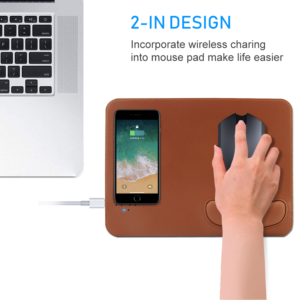 Qi Wireless Charger Charging Mouse Pad Mat PU Leather Wrist Rest Game <font><b>Mousepad</b></font> For IPhone X Samsung S8 Plus <font><b>Xiaomi</b></font> Mobile Phone image