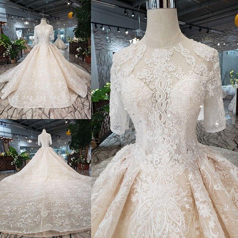 SSYFashion High-end Wedding Dress Bride Luxury Champagne Short Sleeve Court Tran Lace Beading Wedding Gown Vestidos De Novia