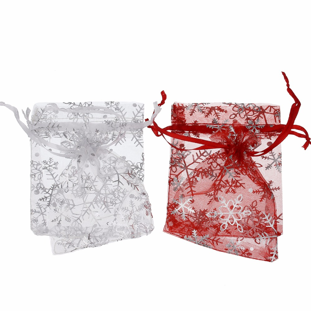 LOULEUR 25pcs/pack 9X12cm Silver  Snowflake Jewelry Packing Drawable Christmas Organza Bag Wedding Gift Bags Pouches Package