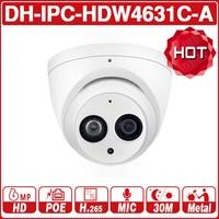 Dahua IPC HDW4631C A 6MP HD POE Network Mini Dome IP Camera Metal Case Built in MIC CCTV Camera 30M IR Night Vision Dahua IK10