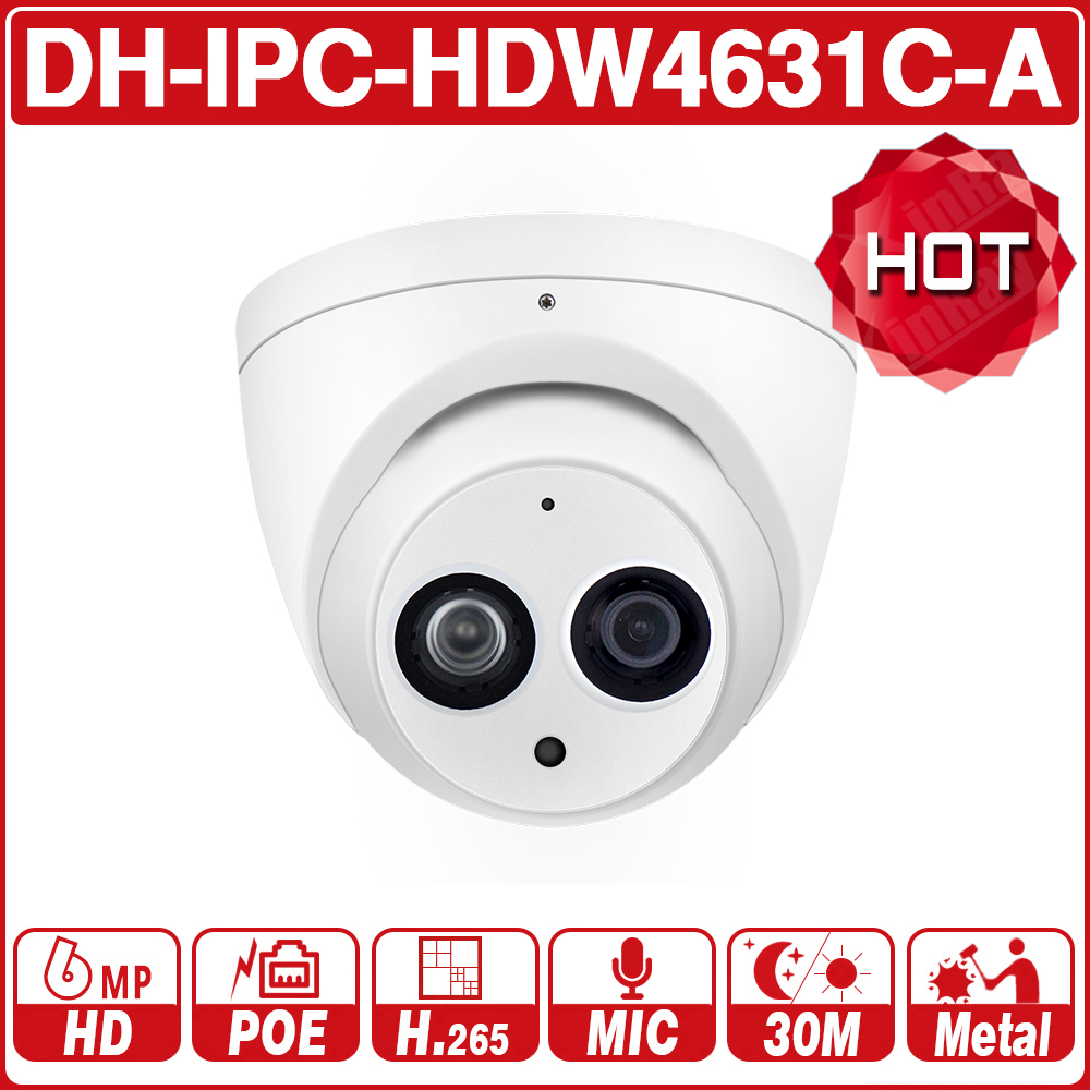 DH IPC-HDW4631C-A 6MP HD POE réseau Mini dôme IP caméra boîtier en métal intégré micro caméra de vidéosurveillance 30M IR Vision nocturne Dahua OEM IK10
