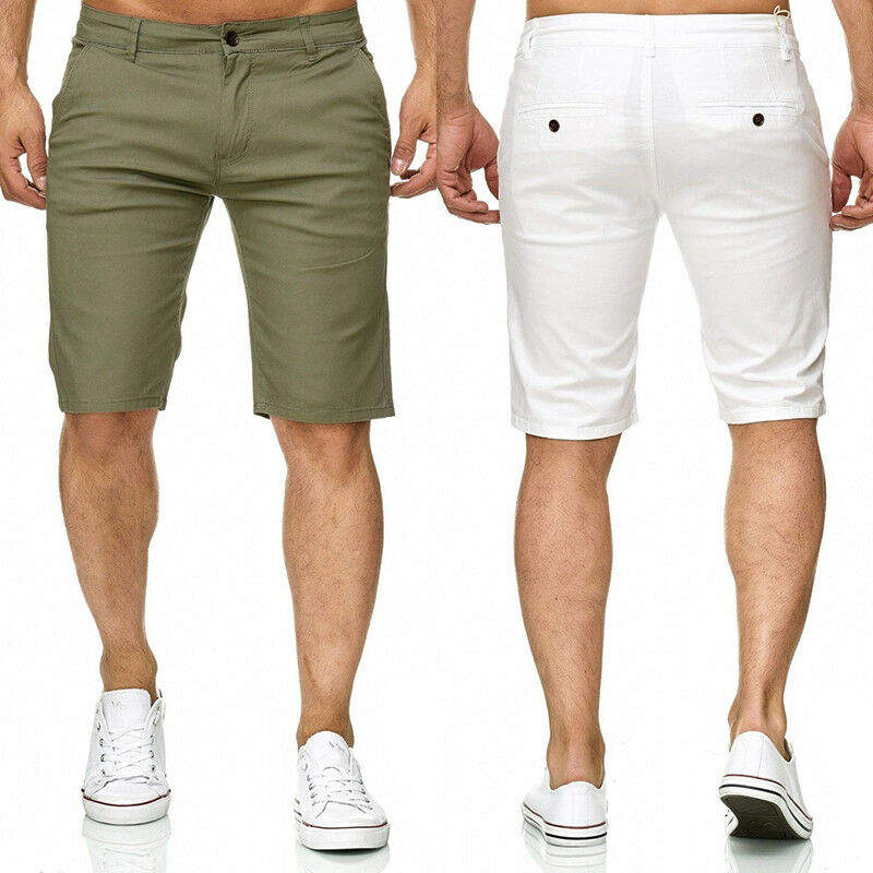 Mens Shorts Fashion 2019 Summer Men's Male's Slim Fit Casual Cotton Shorts Solid Color Short