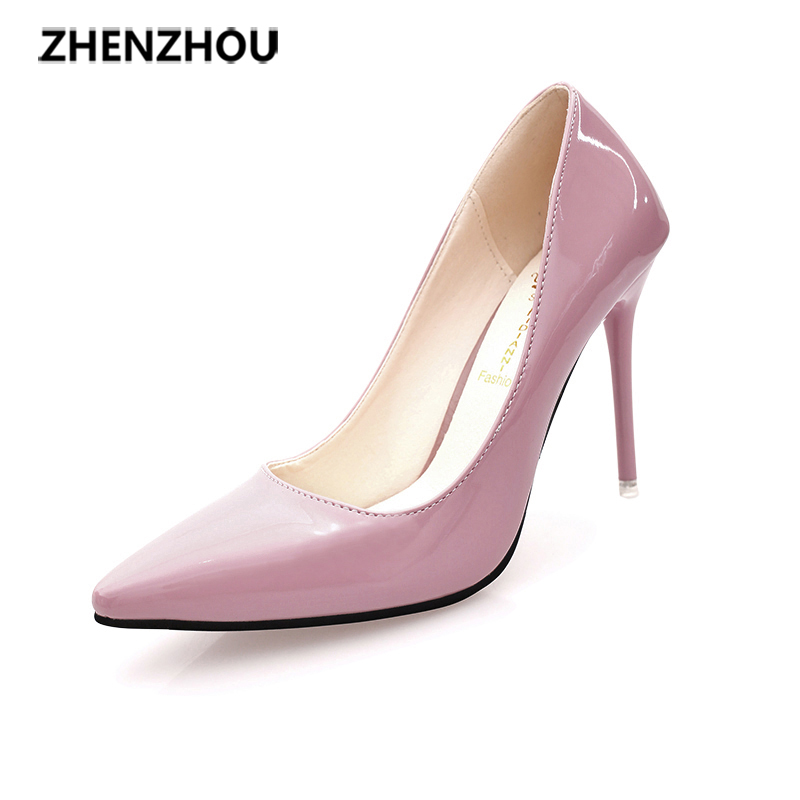 Free shiping shoes Woman 2017 spring  autumn fashion new style sexy thin heels pointed toe  shallow single shoes  patent leather spring autumn shoes woman pointed toe metal buckle shallow 11 plus size thick heels shoes sexy career super high heel shoes