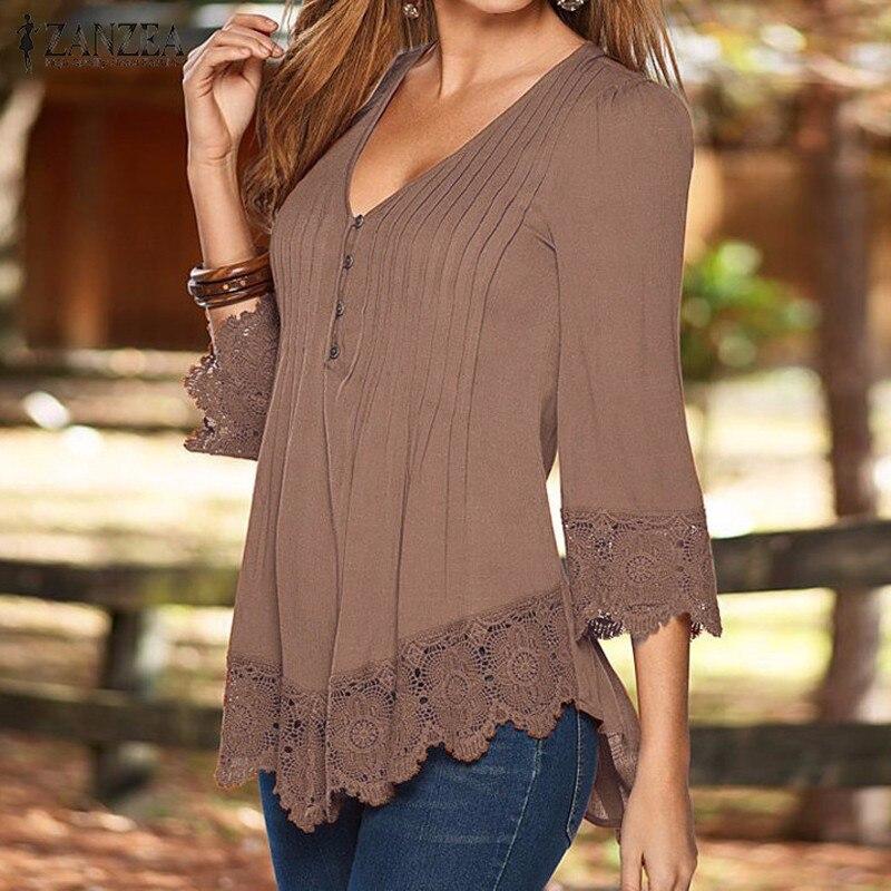 Женские блузки с v образным вырезом ZANZEA, повседневные Асимметричные Однотонные блузки с рукавом 3/4, осень 2020 blusa top elegant lace blouselace blouse   АлиЭкспресс