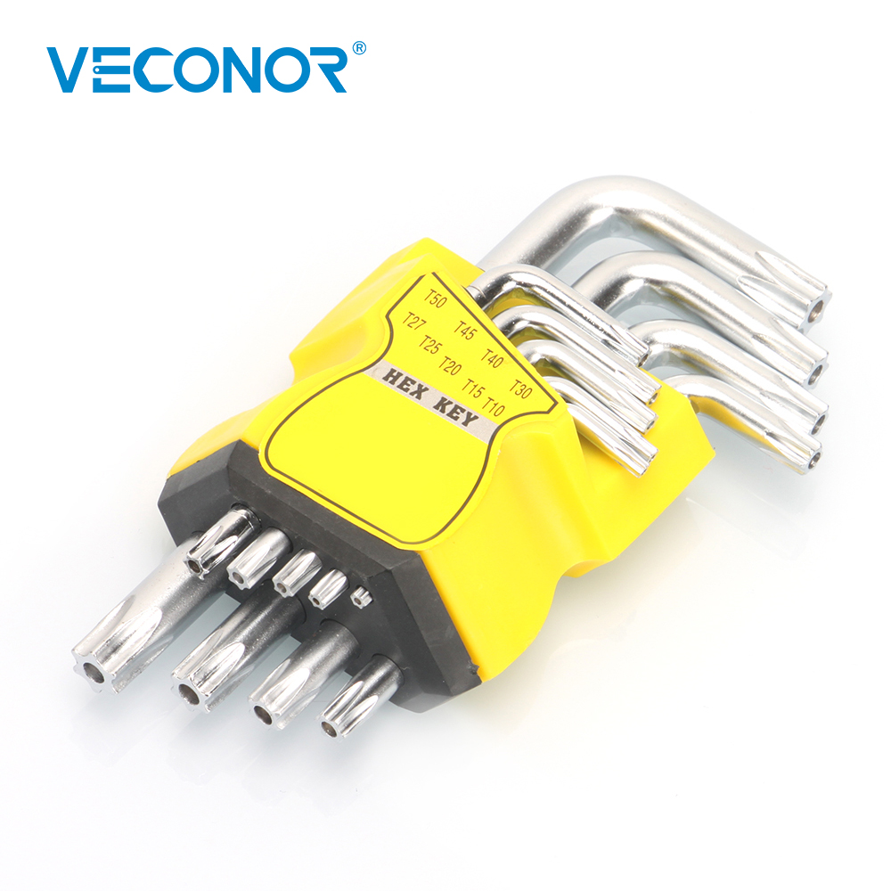 9Pcs Set Durable Metric Short Arm Torx Chrome Vanadium Key Star Wrench Hand Tool Screwdriver T10 T15 T20 T25 T27 T30 T40 T45 T50