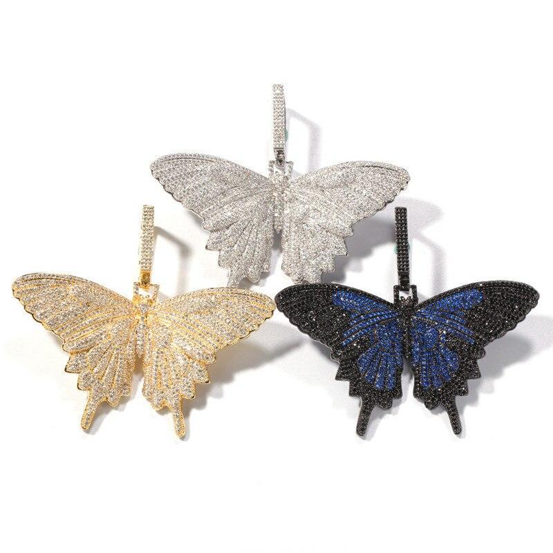 Collier pendentif papillon glacé pour hommes femmes cadeau nouveauté 3 couleurs Micro Pave Zircon collier Hip Hop