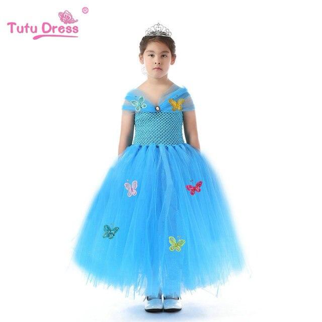 2017 Movies Cinderella Kids Dresses Girls Children's Clothing Princess Cinderella Dresses Cosplay Costume