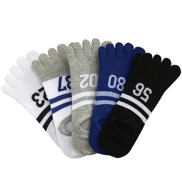 Men's Striped Toe Socks 5 Pairs Set
