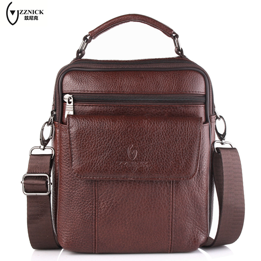 ZZNICK Genuine Leather Bag top-handle Men Bags Shoulder Crossbody Bags Messenger Small Flap Casual Handbags Male Leather Bag New cowhide messenger small flap casual handbags men leather bag genuine leather bag top handle men bags male shoulder crossbody ba