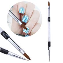 1pcs Flat Liner Dual End Nail Art Rhinestone Painting Brush Acrylic Gel Polish Coat Extension Builder 3D DIY French Drawing Pen
