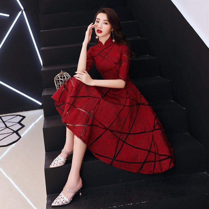 Dark Red Party Evening Cheongsam Dress Oriental Chinese Style Woman Elegant Qipao Sexy Wedding Prom Short Robe Retro Vestido