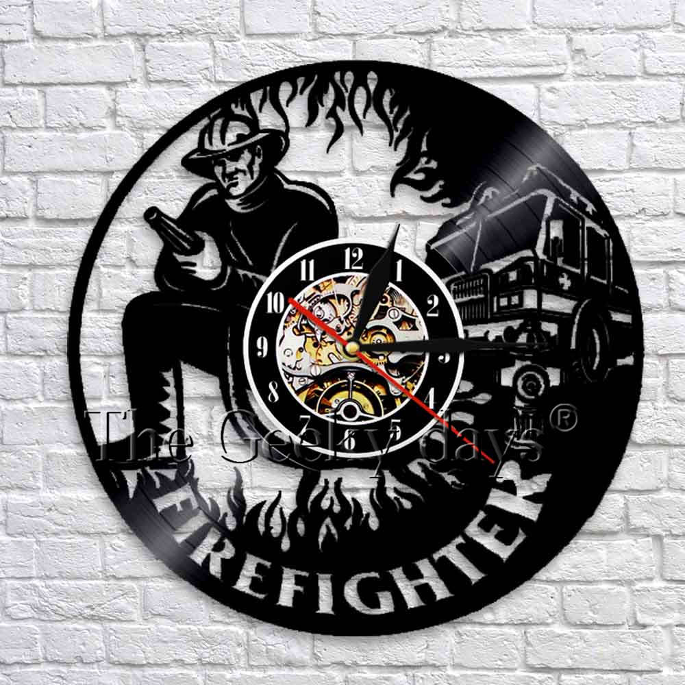 Firefighter Silhouette Shadow Wall Art Decorative Clock Vintage Vinyl Record Wall Clock 3D Wall Watches Clocks Art Decor