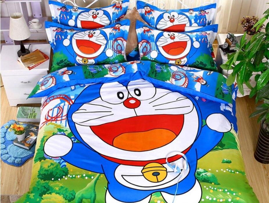 Cute Doraemon Bedding Set Cartoon Pokemon Hello Kitty Doraemon Stitch Duvet Cover Bed Sheet / Fitted Sheet Pillowcase Kid Gift