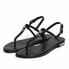2018 Arrival Summer Shoes Woman Casual Elegant Genuine Leather Sandals Chunky Heels Flip Flops Size 34-43 Women Sandals