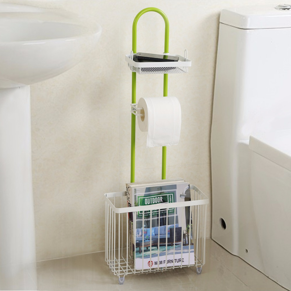 Lifewit toilet roll paper holder caddy with magazine rack - Bathroom toilet paper holder free standing ...