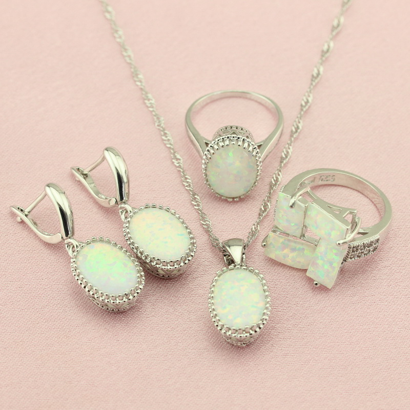 WPAITKYS Trendy Oval White Opal Silver Color Women's s