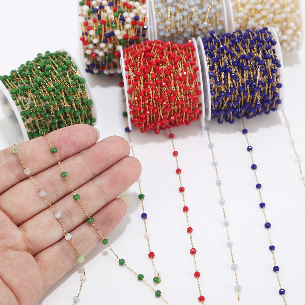 1 Meter Handmade 3.5mm Abacus Glass Beads Golden Chains For Necklaces Bracelets Anklet Making DIY Jewelry Findings