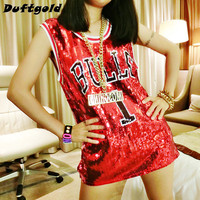 2017 New Fashion Girl Sequins Dance Wear Easy T-shirt Women Sexy Stage Costumes Hip Hop Costume Cheerleading Clothing Dufugold