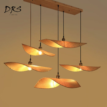 Chinese Zen Teahouse Chandelier Wooden Lustre Pendant Lamp Chinese Modern Bamboo Lighting Fixtures Living Room Led Hanging Lamp