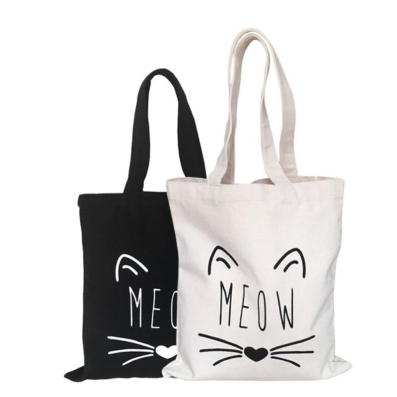 Cute Cat Handbag Linen Tote Grocery Beach Bag