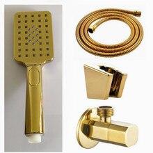 Три функции Золотая ручная душевая головка для ванной комнаты золотая поверхность abs пластик золотой ручной держатель головок для душа BD509