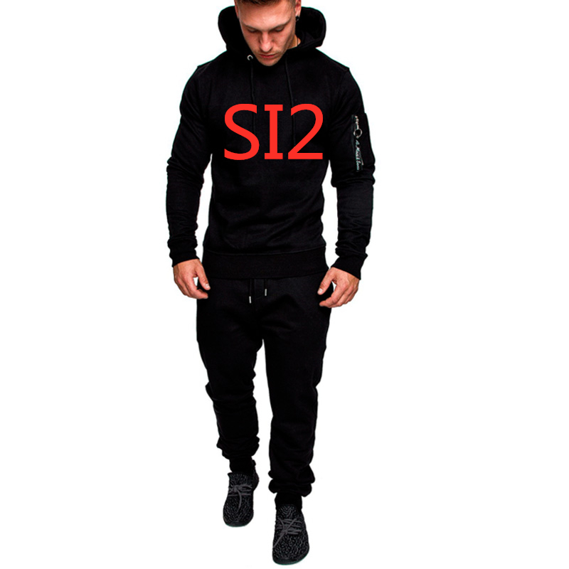 SI2 New Men's Customn Any Logo Spring Autumn Sportswear Tracksuits Sets Man Pullover HoodedCasual Pants Outwear Suits Top Jacket