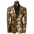 2016 Brand Clothing Luxurious Gold Suits Mens Printing Blazer Casual Floral Jaqueta De Luxo Blazer Jackets For Men