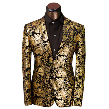 2017 new Brand Clothing Luxurious Gold Suits Mens Printing Blazer Casual Floral Jaqueta De Luxo Blazer Jackets For Men