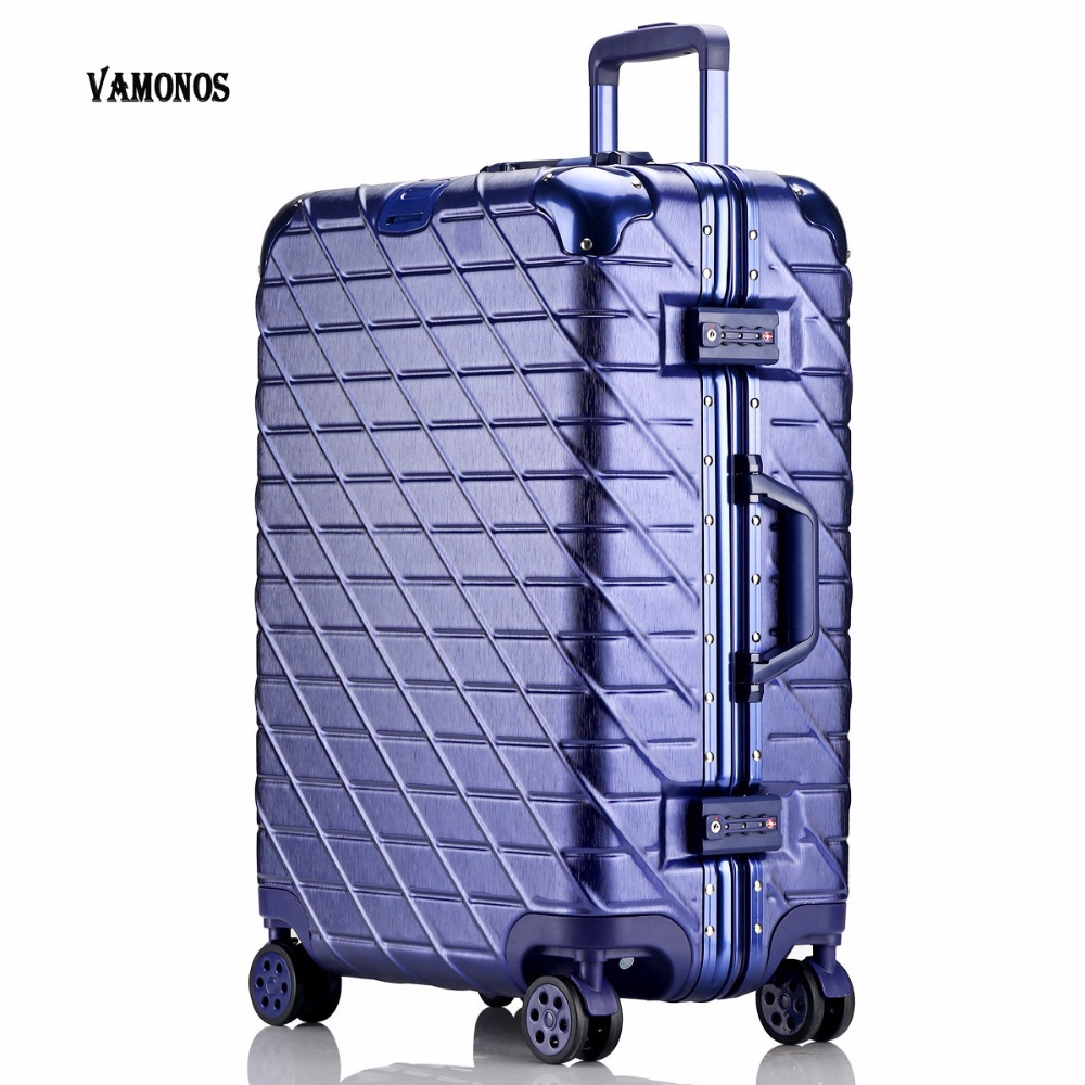 20 24 26 29 inch Aluminum frame + PC + ABS Hardside Luggage, Vintage Rolling suitcase, Nniversal wheel Password Lock Bag 19inch leopard pattern hardside abs pc suitcase rolling luggage