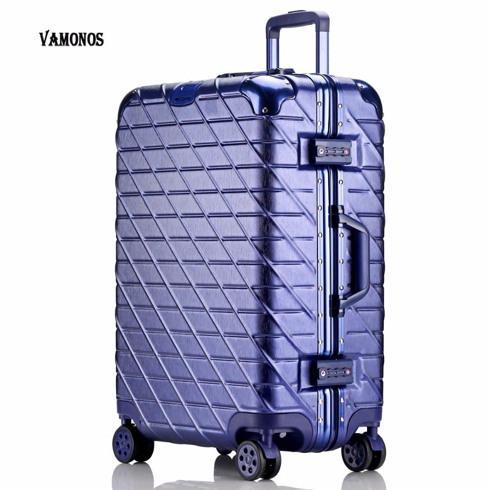 цена на 20 24 26 29 inch Aluminum frame + PC + ABS Hardside Luggage, Vintage Rolling suitcase, Nniversal wheel Password Lock Bag