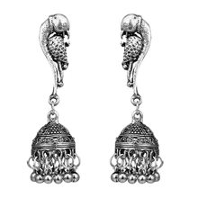 Indian Jhumka Gypsy Jewelry Sliver Color Boho Vintage Ethnic Womens Earrings Hollow Water Drop Earrings For Women 2018 CE633(China)