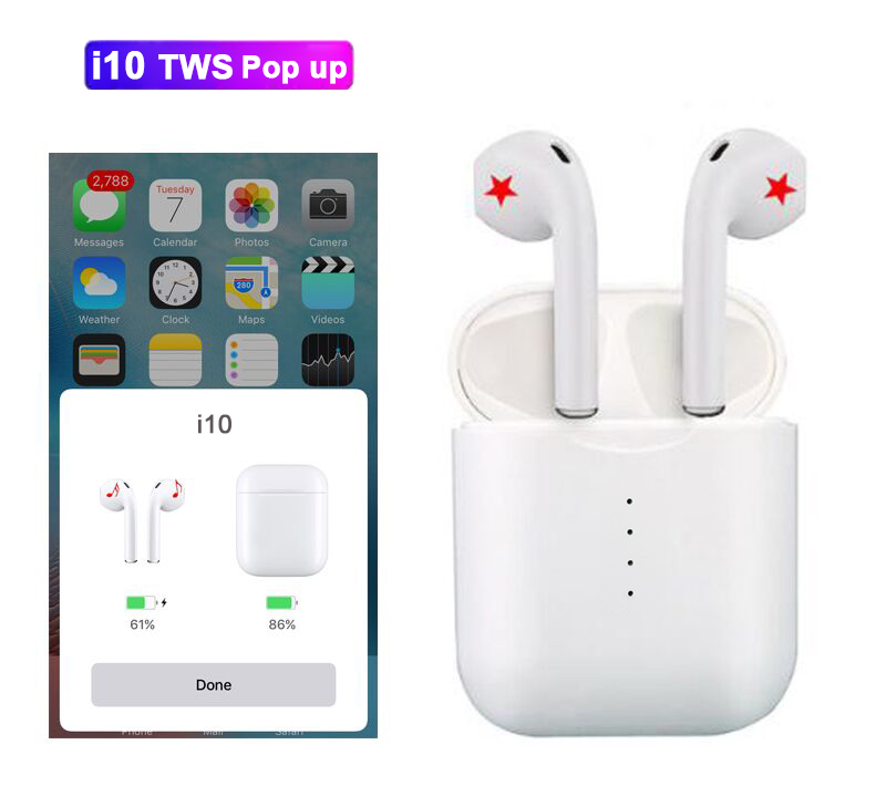 cb77e1af951 pop up can choose i10 tws i10s tws wireless charge support Earphones  Wireless earphone Bluetooth 5.0