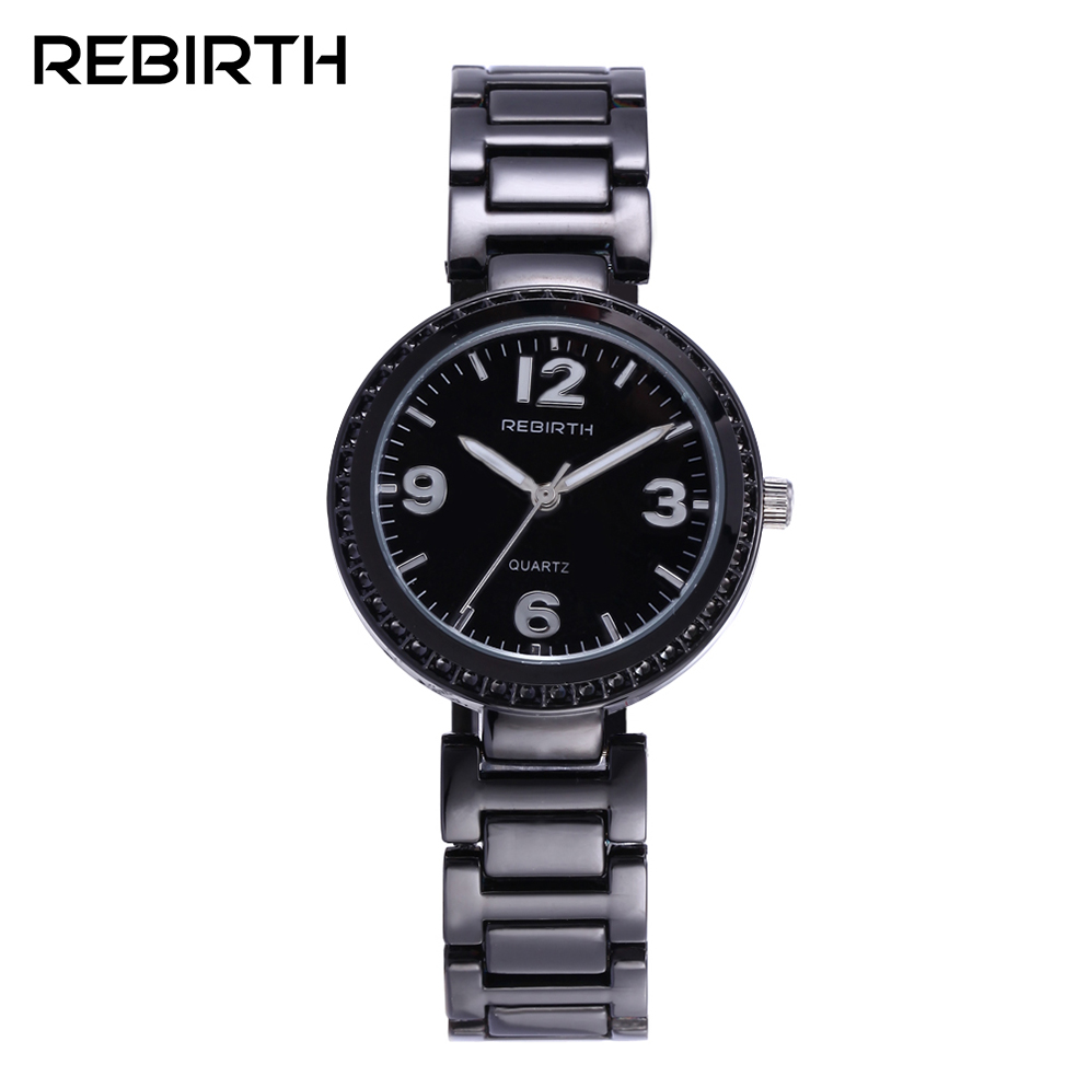 REBIRTH Brand Women's Fashion Balck Watches Stainless Steel Quartz-watch Waterproof High Quality Female Lady Clock horloge dames onlyou brand luxury fashion watches women men quartz watch high quality stainless steel wristwatches ladies dress watch 8892