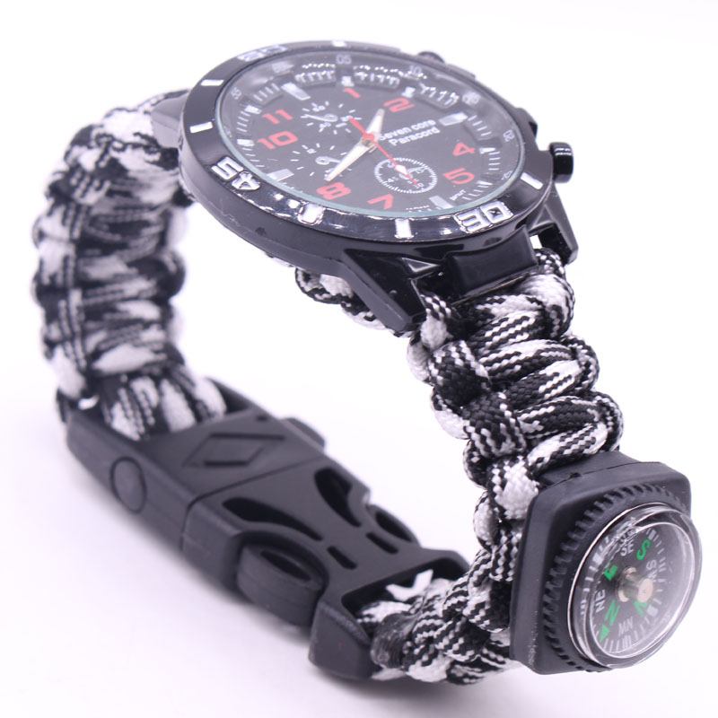 Unifeather Newest Watch Multifunction outdoor handmade watch Compass whistle Survival rope bracelet men and woman spots breclet survival nylon bracelet brown