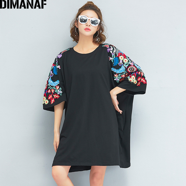 0f5816192ca DIMANAF Women T-Shirt Plus Size Summer Oversized Big Cotton Black Floral  Embroidery O-Neck Female Tops Tees Loose tshirt 2018