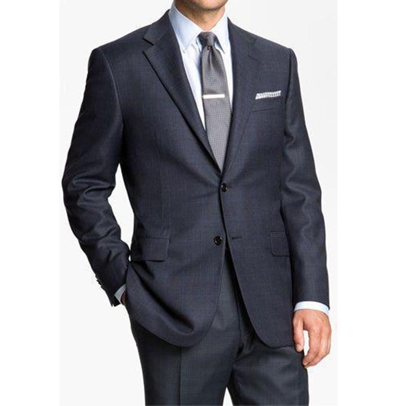 사용자 정의 블루 남성 웨딩 정장 노치 옷깃 신랑 턱시도 두 조각 남성 정장 슬림 맞춤 두 버튼 신랑 (재킷 + 바지)