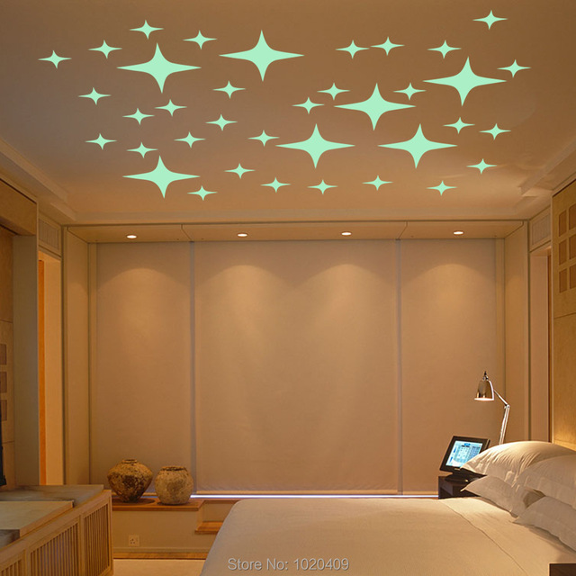 US $4 73 5% OFF|Home Furnishing decorative Luminous wall sticker light  emitting play Stars angel wallpaper children room ceiling decor GS043-in  Wall