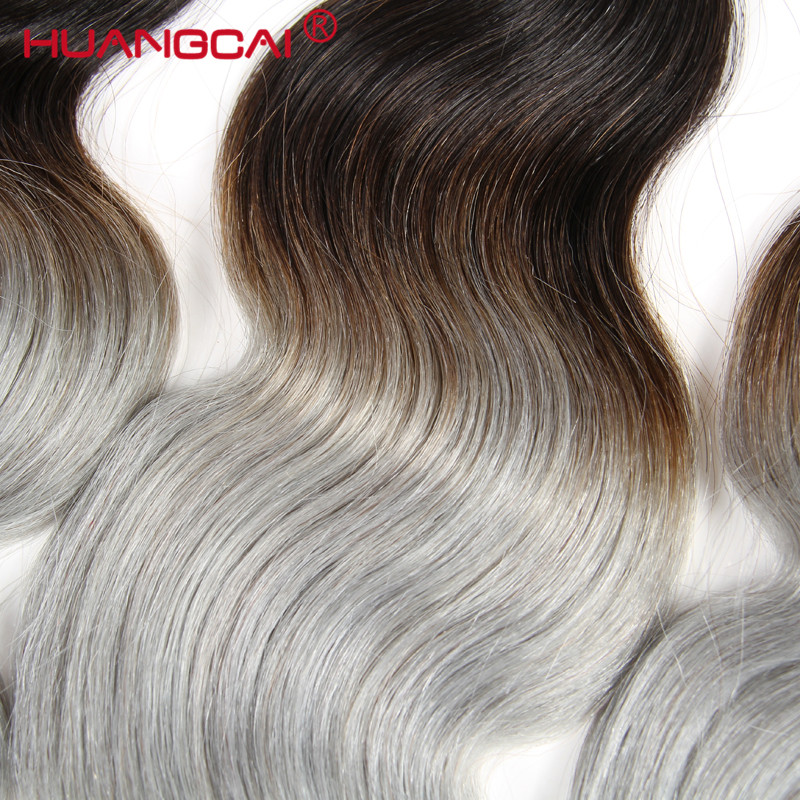 HuangCai Ombre Malaysian 1B/Grey Non-Remy Body Wave Extention 3 Bundles Deal Human Hair Wave Sliver Gray Ombre Color Hair bundle