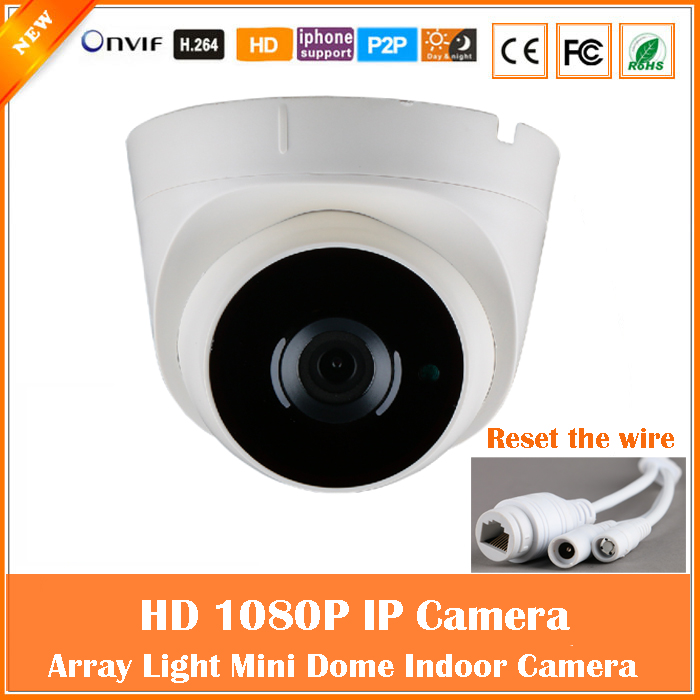 ФОТО 1080P Dome IP Camera 2.0mp CCTV Surveillance Security CMOS Motion Detect Infrared Night Vision Mini White cam Freeshipping Hot