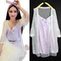 2016 лето нового способа милый женщины кружева атласная ночные сорочки набор сердца шаблоны короткие принцесса рубашки