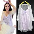 2016 summer new fashion cute women lace satin nightgowns set hearts patterns short princess nightdress