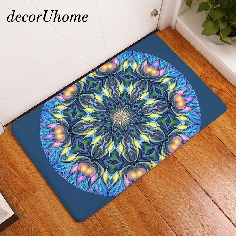 decorUhome Bohemia Waterproof Anti-Slip India Floor Mat Hippe Flower Carpets Bedroom Rugs Decorative Stair Mats Home Decor Craft