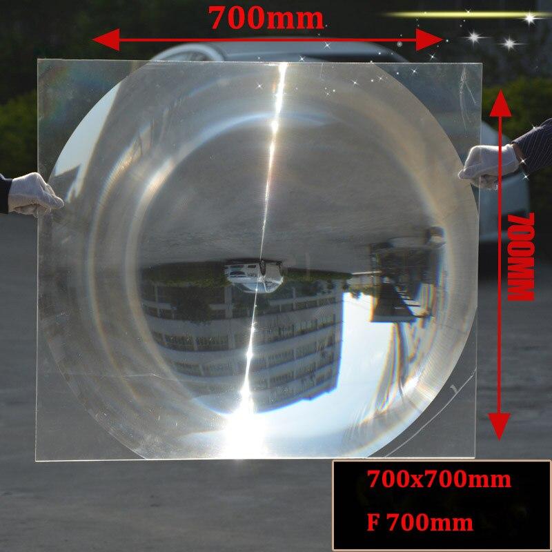 1PC 700x700mm grande lentille de condensation de Fresnel solaire en plastique PMMA optique grande loupe, concentrateur solaire Barbecue